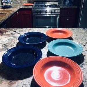 Fiesta Ware 5 rimmed soup bowls Retired colors